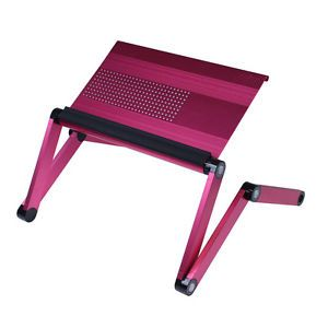 Furinno Adjustable Vented Laptop Table Desk Portable Bed Tray Book Stand Pink