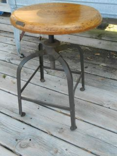 Vtg 40's Angle Steel Co Industrial Machine Age Drafting Stool Chair Adjustable