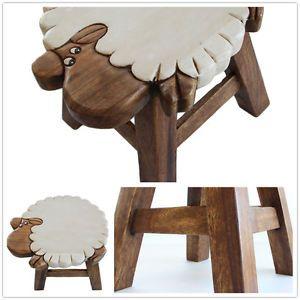 Osaka Kids Wooden Step Stool Chair Hand Carved Art Work on Mango Wood Sheep
