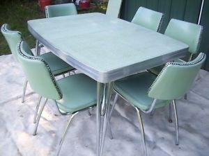 1950s Walter Wabash Kitchen Set Formica Drop Leaf Table 4