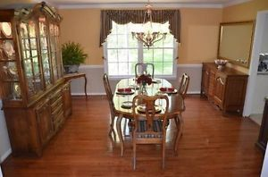 Ethan Allen Dining Room Table and Chairs Fruitwood