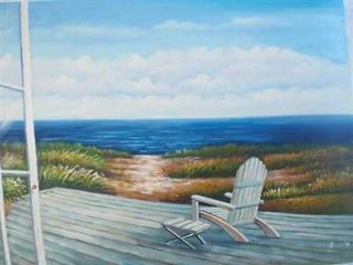24 x 36 Oil Painting Art Adirondack Chair Beach Open Door Window Porch Dock Sand