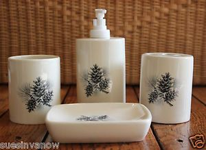 New Bathroom Set Pine Cone Forest Tree Decor Soap Dispenser Dish Toothbrush Cup