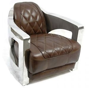 Club Chair Vintage Dark Brown Leather Stainless Steel Frame Modern New
