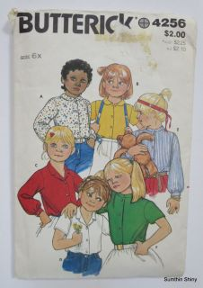 Vintage Butterick Sewing Pattern 4256 Girls Blouse Size 6X Six Variations