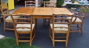 Drexel Drop Leaf Dining Room Gate Leg Table w 6 Chairs Light Oak Maple 2 Leafs