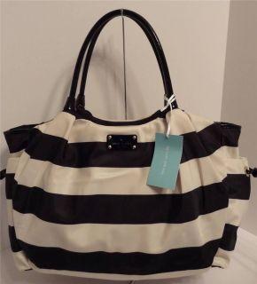 Kate Spade Black French Vanilla Striped Cambridge Nylon Baby Diaper Bag $398