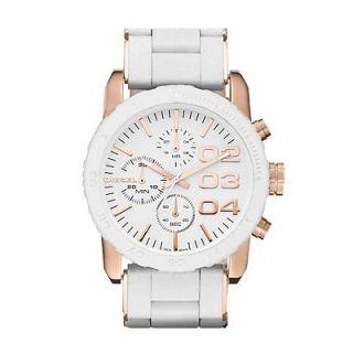 Diesel Women's White Rose Gold Tone Day Date Chronograph Steel 100M Watch DZ5323