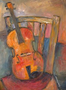 Original Oil Painting 16 x 12 inch 'Violin on Old Chair' on Canvas