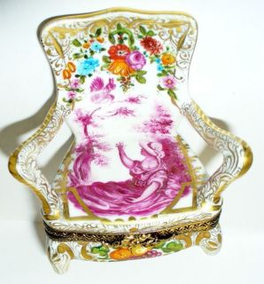 Limoges Box Pink Toile Arm Chair Lady Squirrel Flowers Fruits Le 34 80