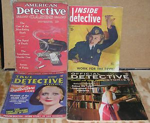 4 Vintage True Crime Magazines 1930's 1960'S