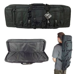 "36"" Dual Rifle Dual Pistol Black Case Backpack MOLLE Double Carbine"