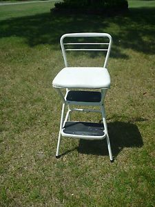 Vintage Cosco Step Stool Ladder Chair Green Vinyl Seat