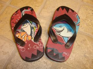 Finding Nemo Toddler Flip Flops Nemo Bruce Gil Shark Clown Fish Size 7 8