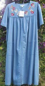 Go Softly Petite L 100 Cotton Denim Zip Patio House Dress Muu Duster PL