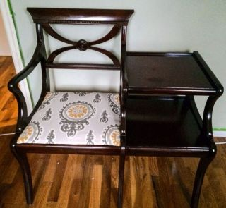 """Vintage Mid Century Accent Chair Telephone Table """"Gossip Bench"""""""