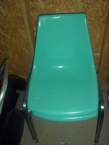 2 Herman Miller Style Krueger Fiber Glass Side Chairs Teal Aqua Color Nice