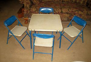 Antique Stakmore 1930s Vintage Metal Folding Card Table