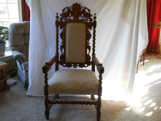Antique Lions Head Hand Carved Wood Throne Chair Arm Chair Gothic Furniture