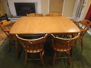 ... Tell City Square Dining Table Set Maple 2 Arm 4 Mate Chairs 8018 48  Andover ...