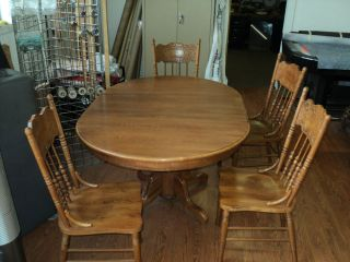 "Round Oak Table with 18"" Leaf and 4 Chairs"