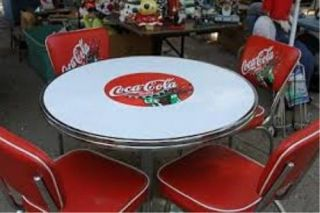 White coca cola table with logo 4 matching red chairs reduced price - Coca cola table and chairs set ...