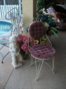 Vintage Hollywood Regency Teena Originals Cast Metal Vanity Chair Purple Velvet