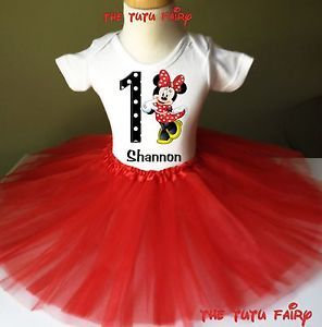 Minnie Mouse Birthday Girl Red Tutu Outfit Set Name Age Personalized Shirt 1 7
