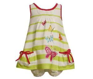 Bonnie Jean Girls Butterfly Screen Printed Knit Spring Summer Dress 12M 18M 24M