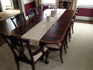 Ethan Allen Dining Room Set Table 8 Chairs Hutch China Cabinet