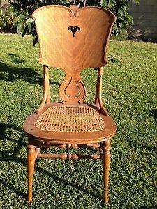Antique Tiger Oak Cane Seat Wooden Chair