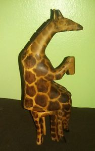 Vintage Hand Carved Wood Giraffe Drinking in Chair Figurine Statue Comical Kenya