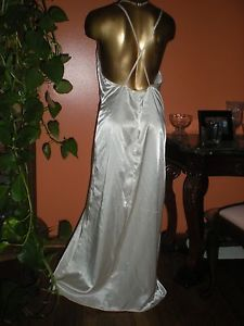 Vintage Nightgown Liquid Satin Criss Cross Backless Chiffon Inserts Drama Queen