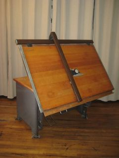 Hamilton Drafting Table Desk with Vemco Mark XII V Track Drafting Machine