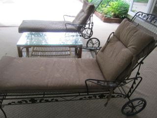 Patio Furniture Set of 2 Black Wrought Iron Lounge Chairs on Wheels