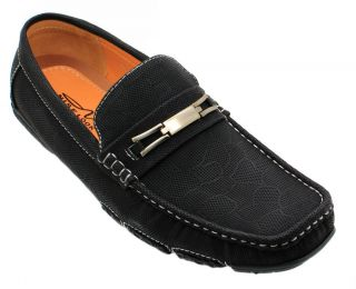 Men's Leather Moccasins Loafer Slip on Buckle Casual Driving Shoes Black