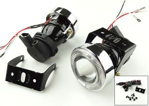 Universal Driving Bumper Halo Projector LED Fog Light Lamp Kit Angel Eyes