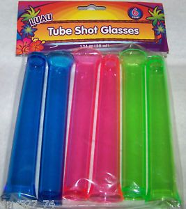 6 Luau Party Bar Drink Beverage Test Tube Shot Glasses