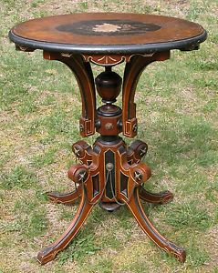 American Victorian Aesthetic Movement Eastlake Table Stand Inlaid Top
