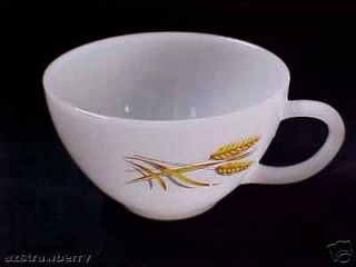 Vintage Fire King Oven White Milk Glass Golden Wheat Pattern Tea Coffee Cup Cup
