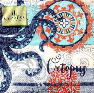 Cypress Home Set of 20 Cocktail Beverage Paper Napkins North Shore Octopus