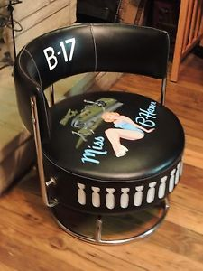 Nose Art Chair Pin Up Mancave B17 B25 Bomber WWII Hot Rod P51 Air Force Pilot US