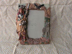 Native American Indian Hunter Wolf Eagle Design Heavy Resin Picture Frame