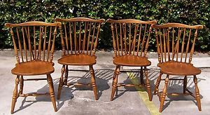 4 Thomasville 1969 Windsor Solid Wood Dining Room Side Chairs