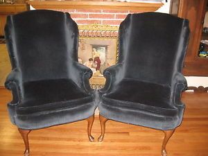 2 Blue Velvet Wingback Arm Chairs w J Sloane of SF Circa 1975 Very High End