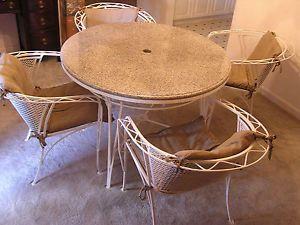 RARE Eames Era Meadowcraft Wrought Iron Mesh Patio Table 4 Chairs High Fashion