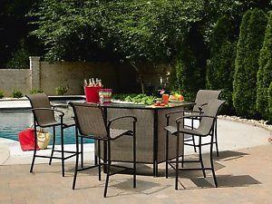 ... 5 Piece Bar Set Garden Patio Outdoor Pool Deck Table Chairs Cabana  Stools ...