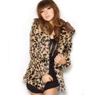 Fashion Classy Women Girls Leopard Print Faux Fur Hoodie Hooded Coat Jacket