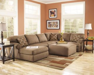 Ashley Cowan Mocha Brown Chaise Living Room Sectional Sofa Ottoman 3070316 67