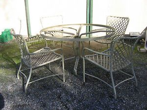 Mid Century Modern Vintage Brown Jordan Patio Table and Chairs No Glass Tamiami